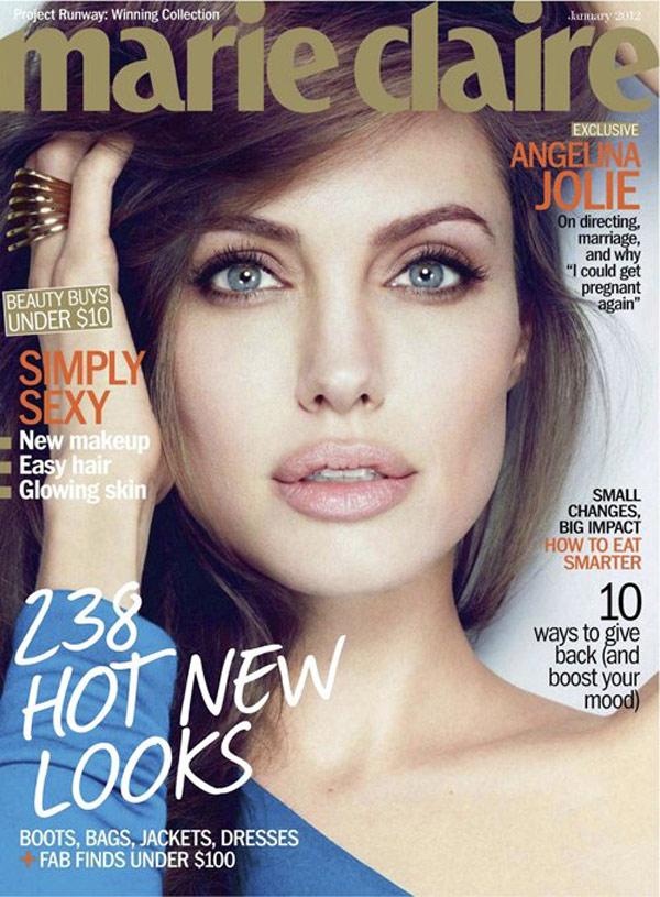 Angelina Jolie ne fixeaza cu privirea de pe coperta Marie Claire