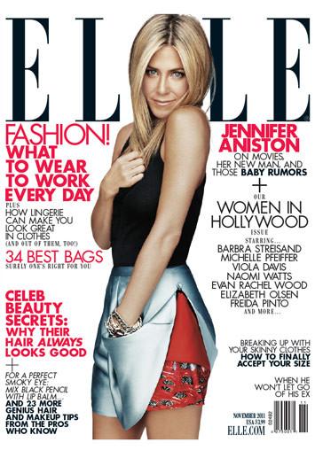 Jennifer Aniston troneaza pe coperta Elle, editia noiembrie 2011