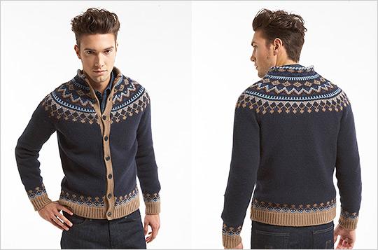 Cardigan tricotat, cu motive nordice. Numai pentru barbati