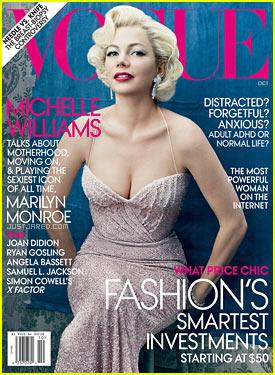 Michelle Williams troneaza pe coperta Vogue, editia octombrie 2011