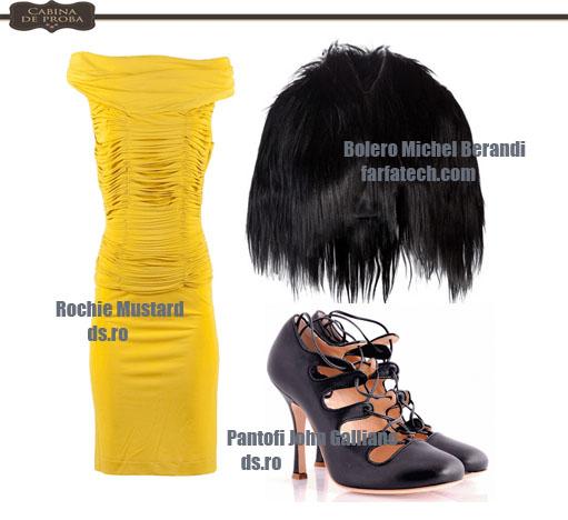 Rochie mulata, cu bolero din blana si pantofi cu toc stiletto